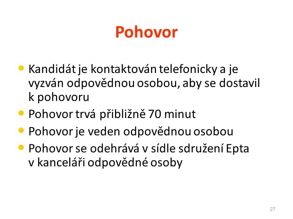 Pohovor Kandidát je kontaktován telefonicky a je vyzván odpovědnou osobou, aby se dostavil k pohovoru.