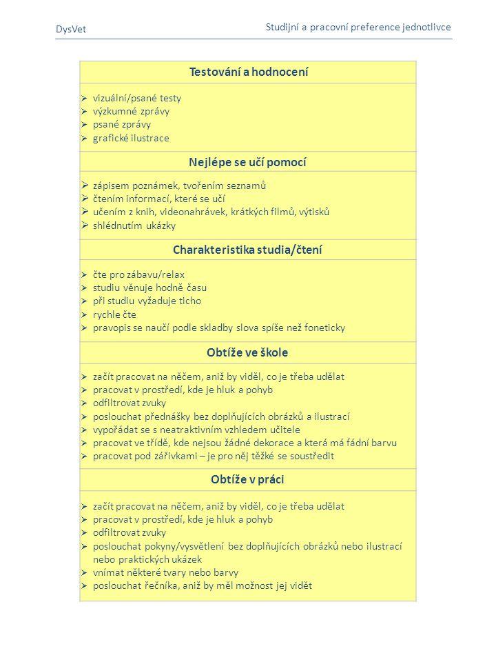 Charakteristika studia/čtení