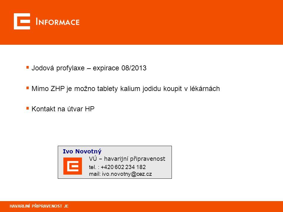 Informace Jodová profylaxe – expirace 08/2013