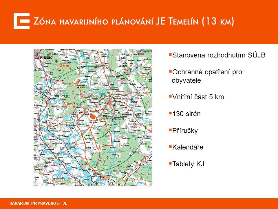 Zóna havarijního plánování JE Temelín (13 km)
