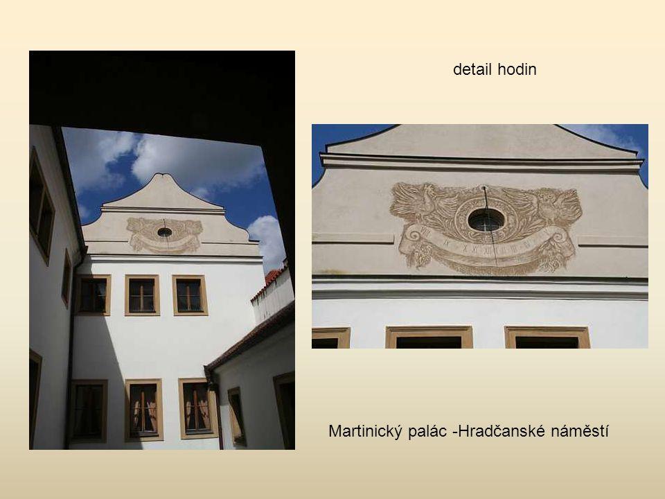 detail hodin Martinický palác -Hradčanské náměstí