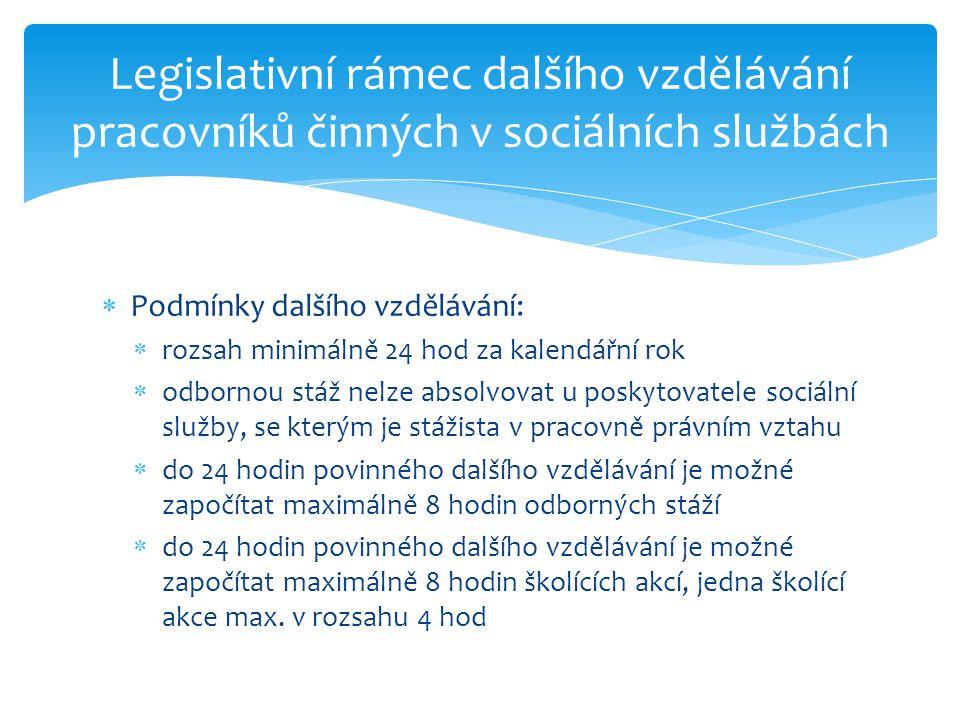 Legislativní rámec dalšího vzdělávání pracovníků činných v sociálních službách