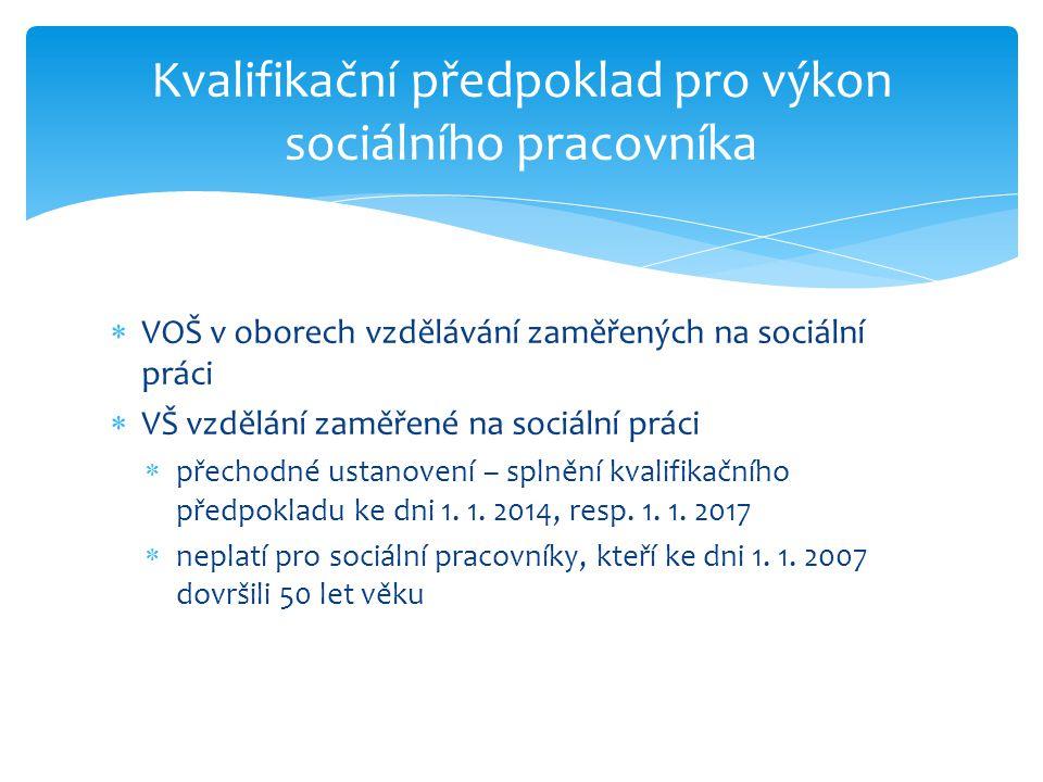 Kvalifikační předpoklad pro výkon sociálního pracovníka