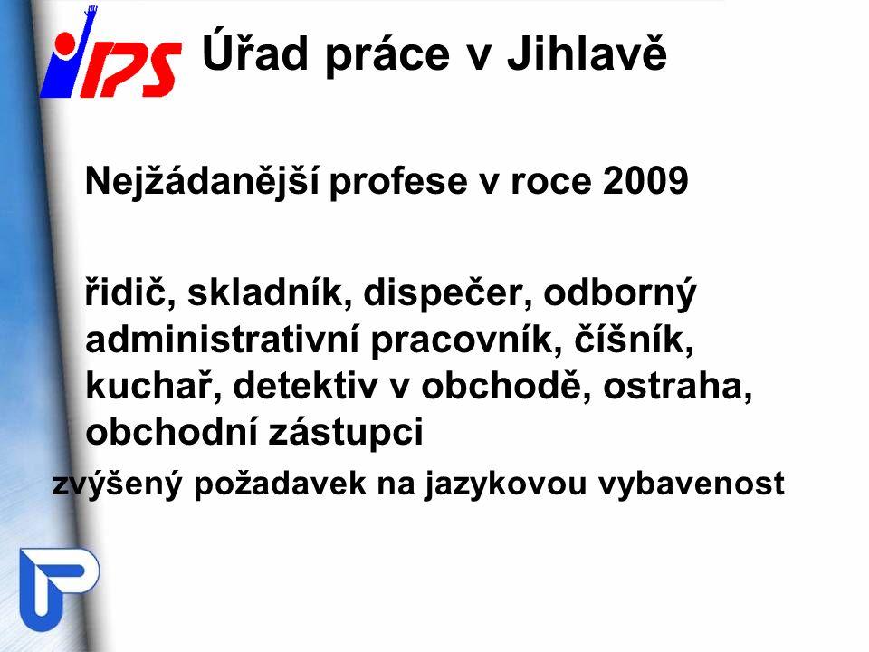 Úřad práce v Jihlavě Nejžádanější profese v roce 2009