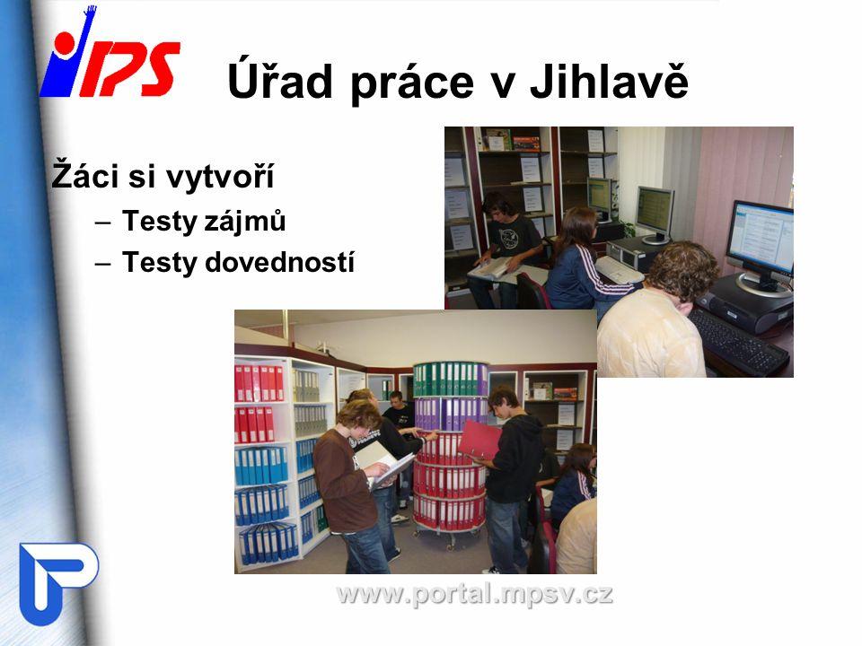 Úřad práce v Jihlavě Žáci si vytvoří Testy zájmů Testy dovedností