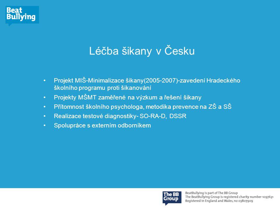 Léčba šikany v Česku Projekt MIŠ-Minimalizace šikany(2005-2007)-zavedení Hradeckého školního programu proti šikanování.