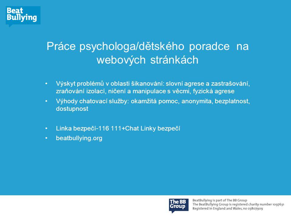 Práce psychologa/dětského poradce na webových stránkách