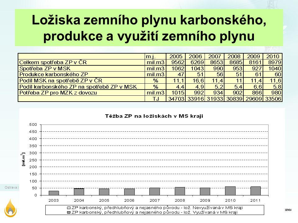 Ložiska zemního plynu karbonského, produkce a využití zemního plynu