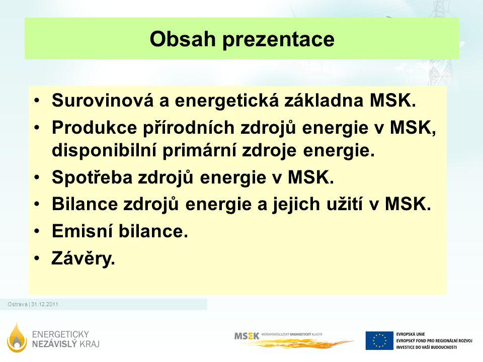 Obsah prezentace Surovinová a energetická základna MSK.