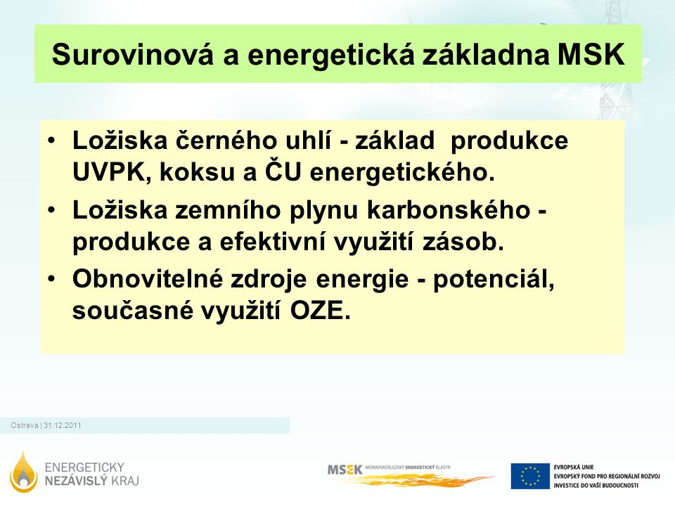 Surovinová a energetická základna MSK