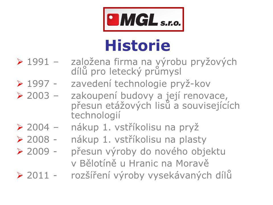 Historie 1991 – založena firma na výrobu pryžových dílů pro letecký průmysl. 1997 - zavedení technologie pryž-kov.