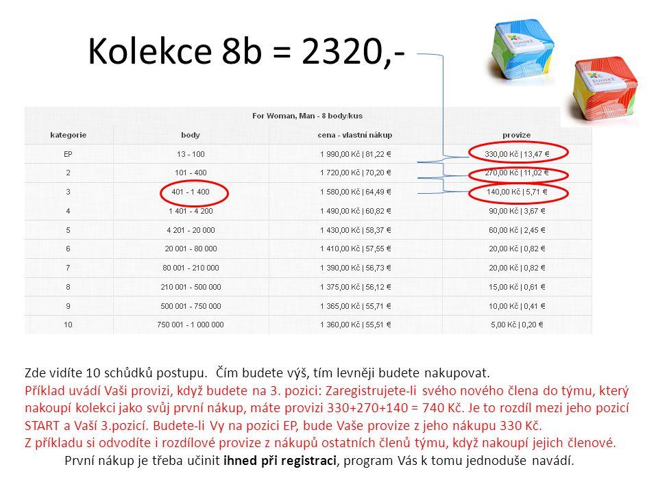 Kolekce 8b = 2320,- Zde vidíte 10 schůdků postupu. Čím budete výš, tím levněji budete nakupovat.
