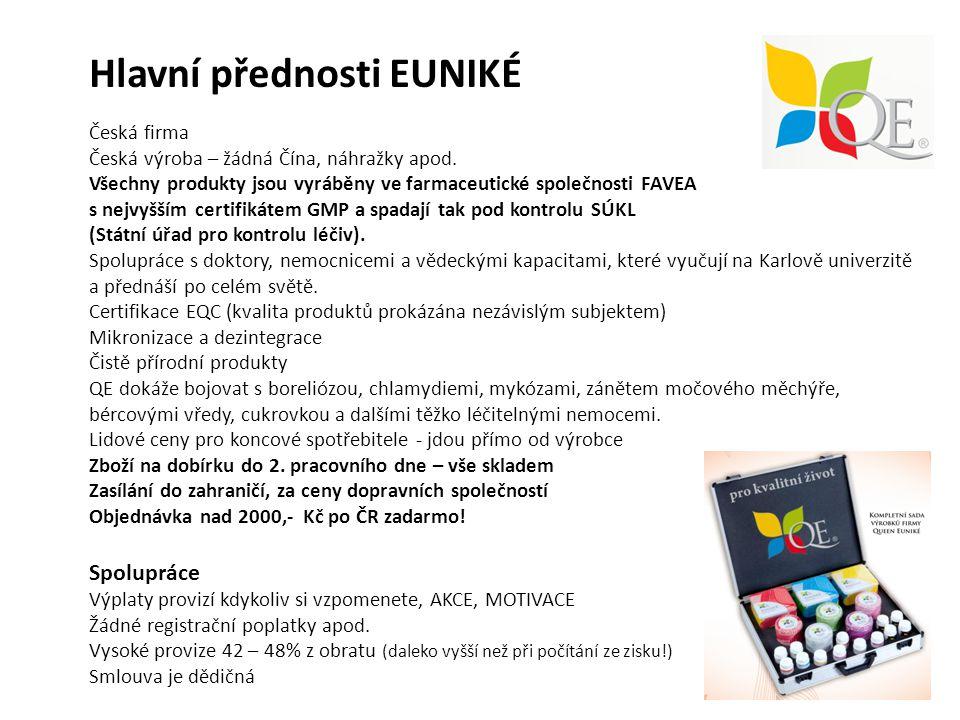 Hlavní přednosti EUNIKÉ Česká firma Česká výroba – žádná Čína, náhražky apod.