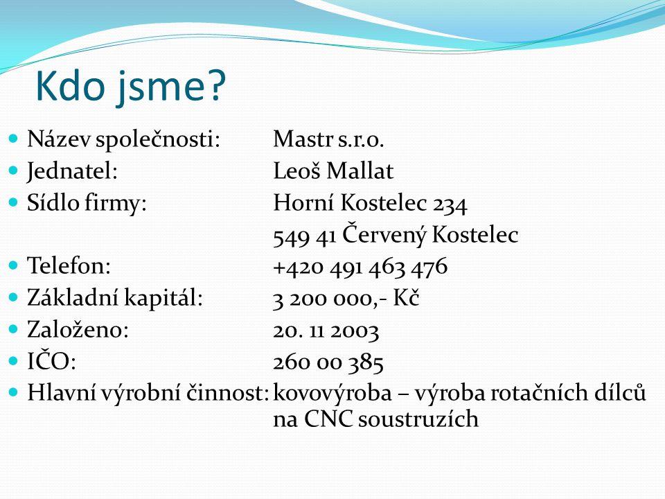 Kdo jsme Název společnosti: Mastr s.r.o. Jednatel: Leoš Mallat