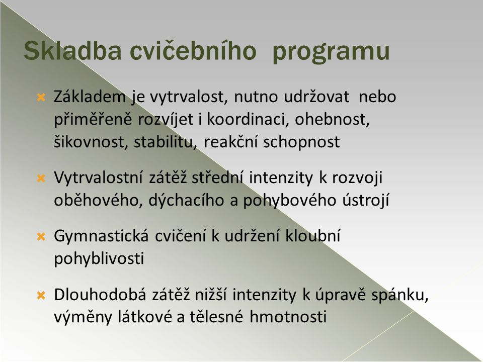 Skladba cvičebního programu