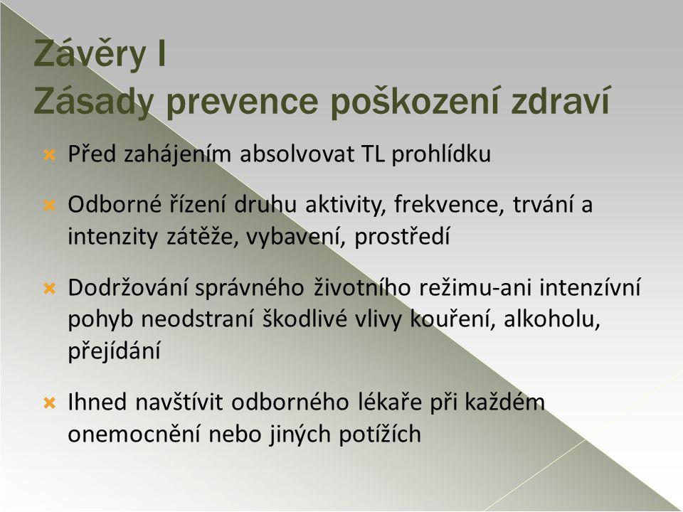 Závěry I Zásady prevence poškození zdraví