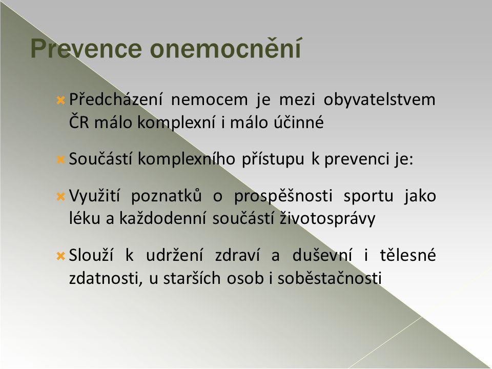 Prevence onemocnění Předcházení nemocem je mezi obyvatelstvem ČR málo komplexní i málo účinné. Součástí komplexního přístupu k prevenci je: