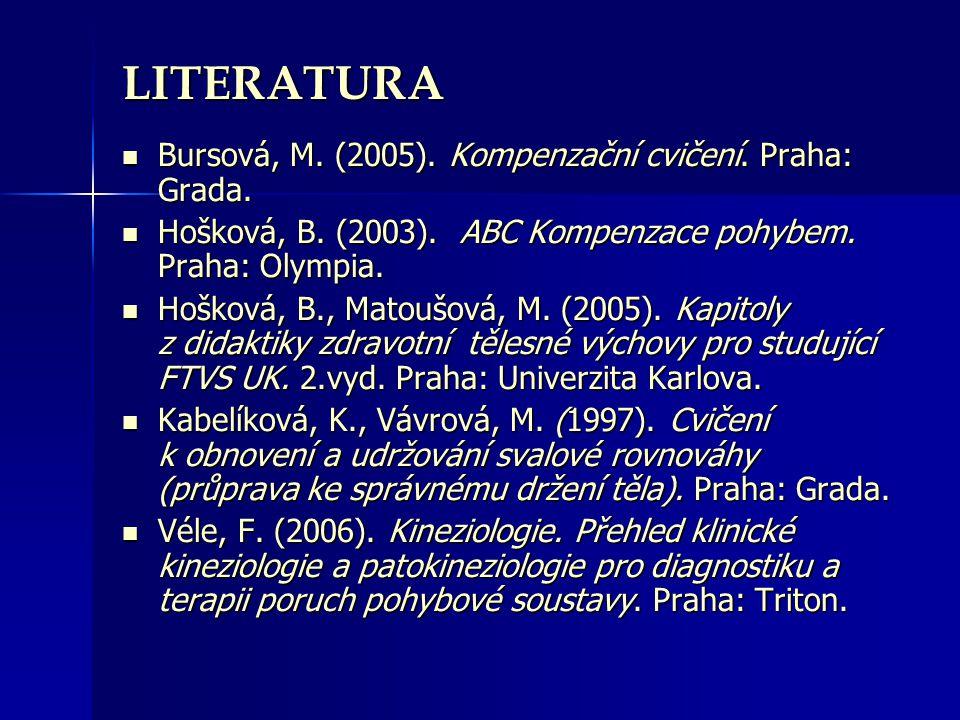 LITERATURA Bursová, M. (2005). Kompenzační cvičení. Praha: Grada.