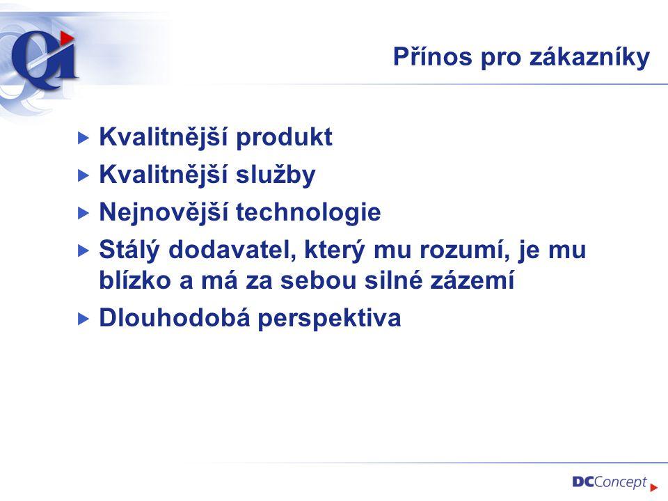 Přínos pro zákazníky Kvalitnější produkt. Kvalitnější služby. Nejnovější technologie.
