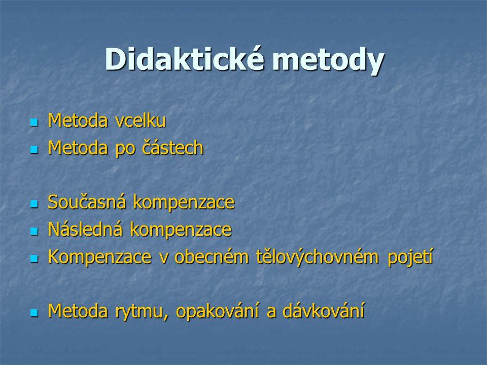 Didaktické metody Metoda vcelku Metoda po částech Současná kompenzace