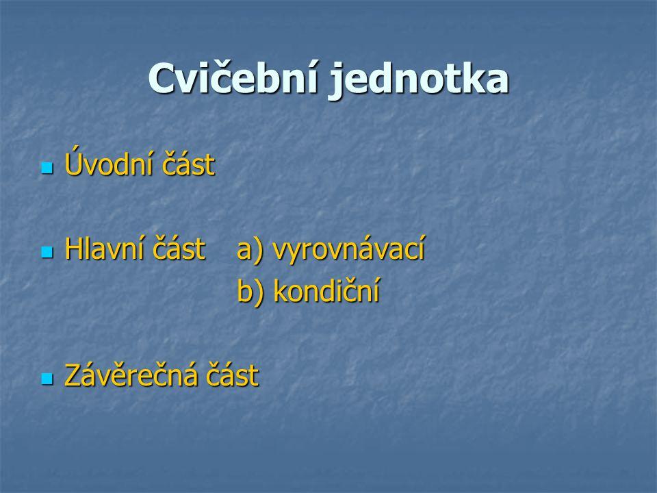 Cvičební jednotka Úvodní část Hlavní část a) vyrovnávací b) kondiční