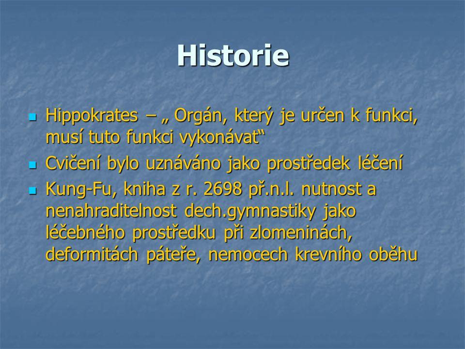 """Historie Hippokrates – """" Orgán, který je určen k funkci, musí tuto funkci vykonávat Cvičení bylo uznáváno jako prostředek léčení."""