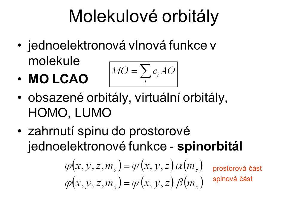 Molekulové orbitály jednoelektronová vlnová funkce v molekule MO LCAO