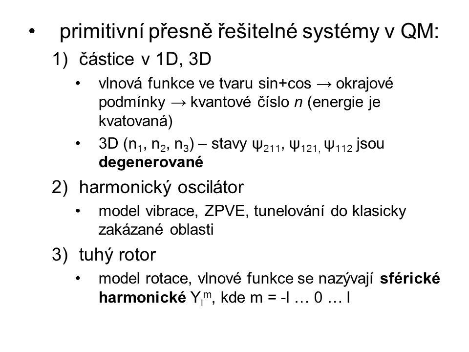 primitivní přesně řešitelné systémy v QM: