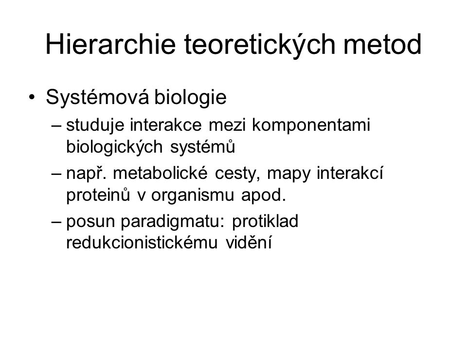 Hierarchie teoretických metod
