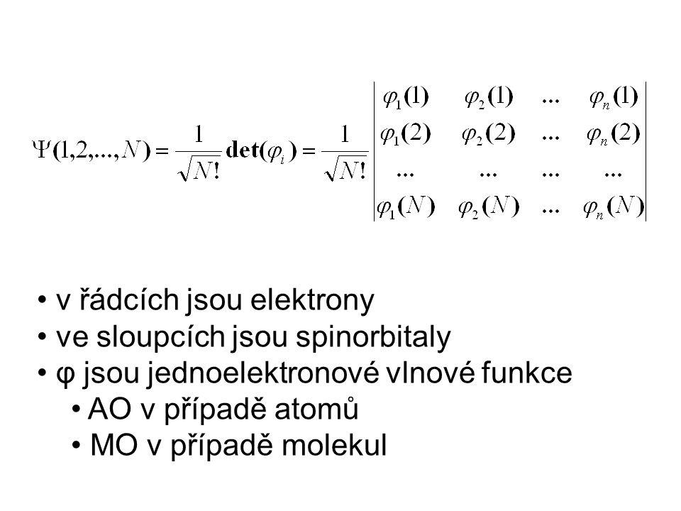 v řádcích jsou elektrony ve sloupcích jsou spinorbitaly