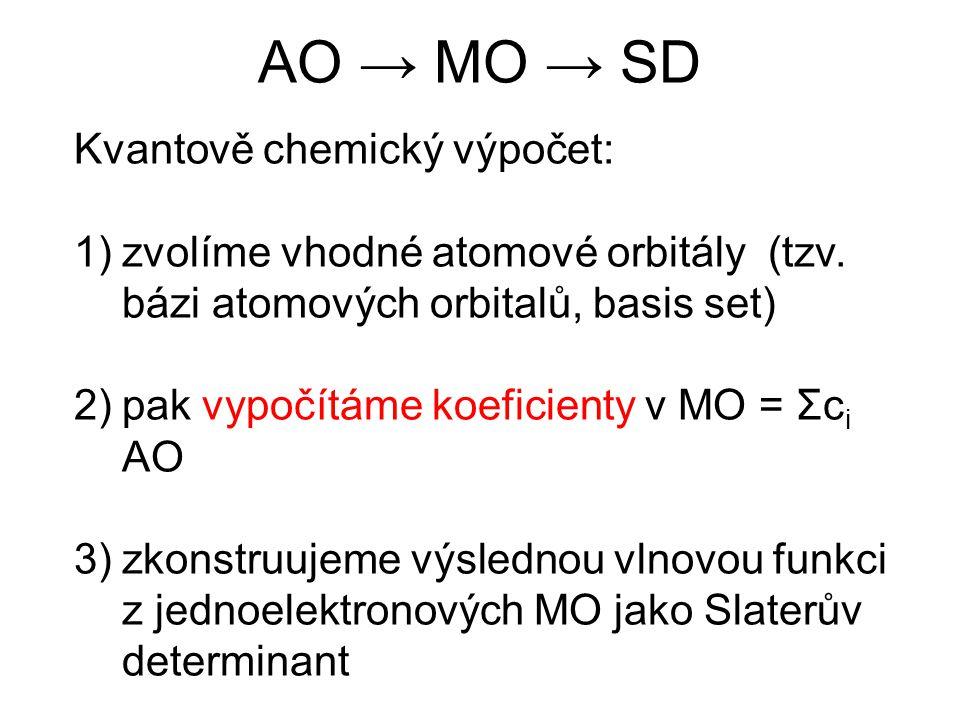 AO → MO → SD Kvantově chemický výpočet: