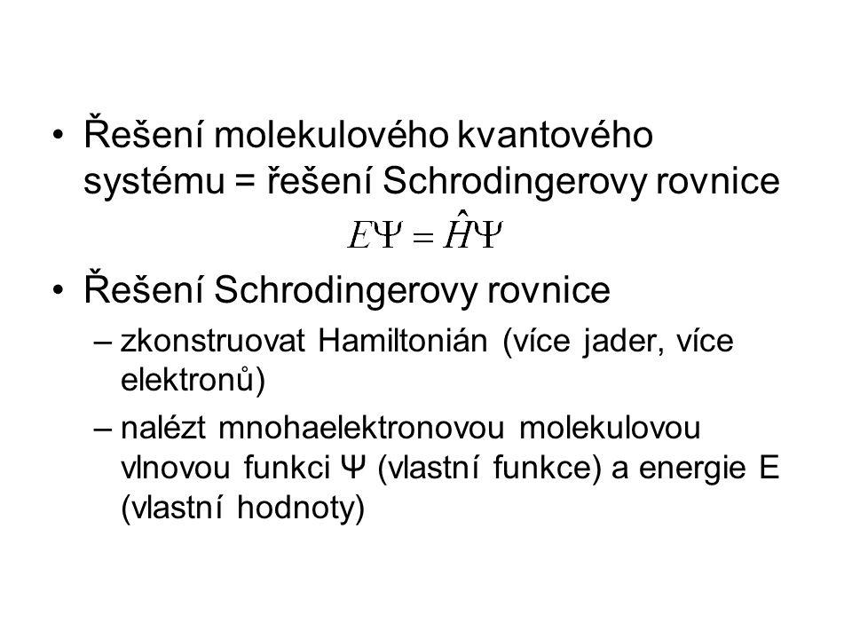 Řešení molekulového kvantového systému = řešení Schrodingerovy rovnice