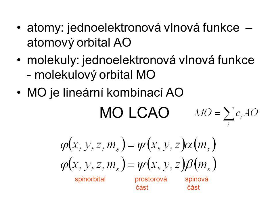 atomy: jednoelektronová vlnová funkce – atomový orbital AO