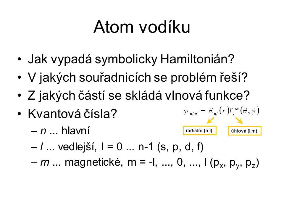 Atom vodíku Jak vypadá symbolicky Hamiltonián