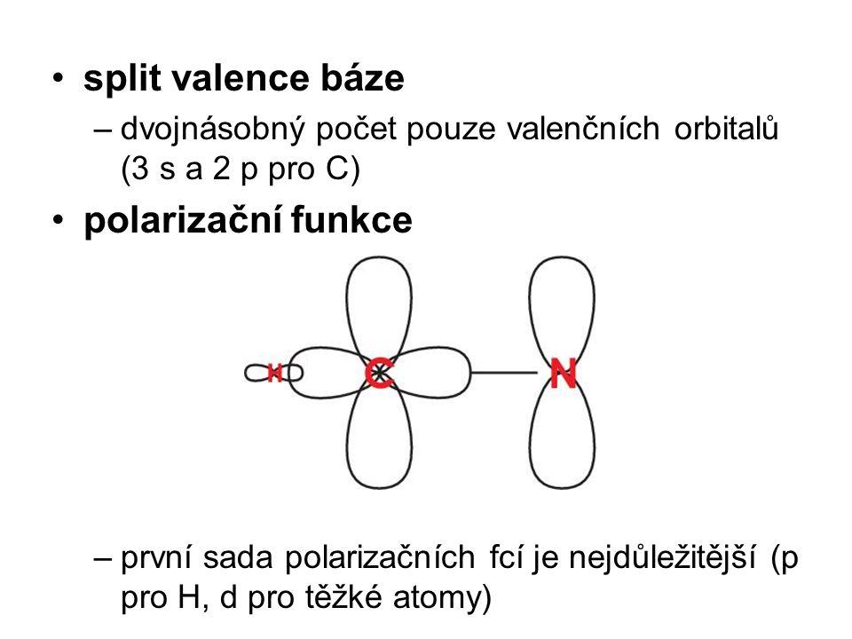split valence báze polarizační funkce