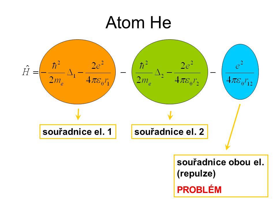 Atom He souřadnice el. 1 souřadnice el. 2 souřadnice obou el.