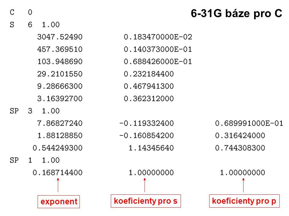 6-31G báze pro C exponent koeficienty pro s koeficienty pro p