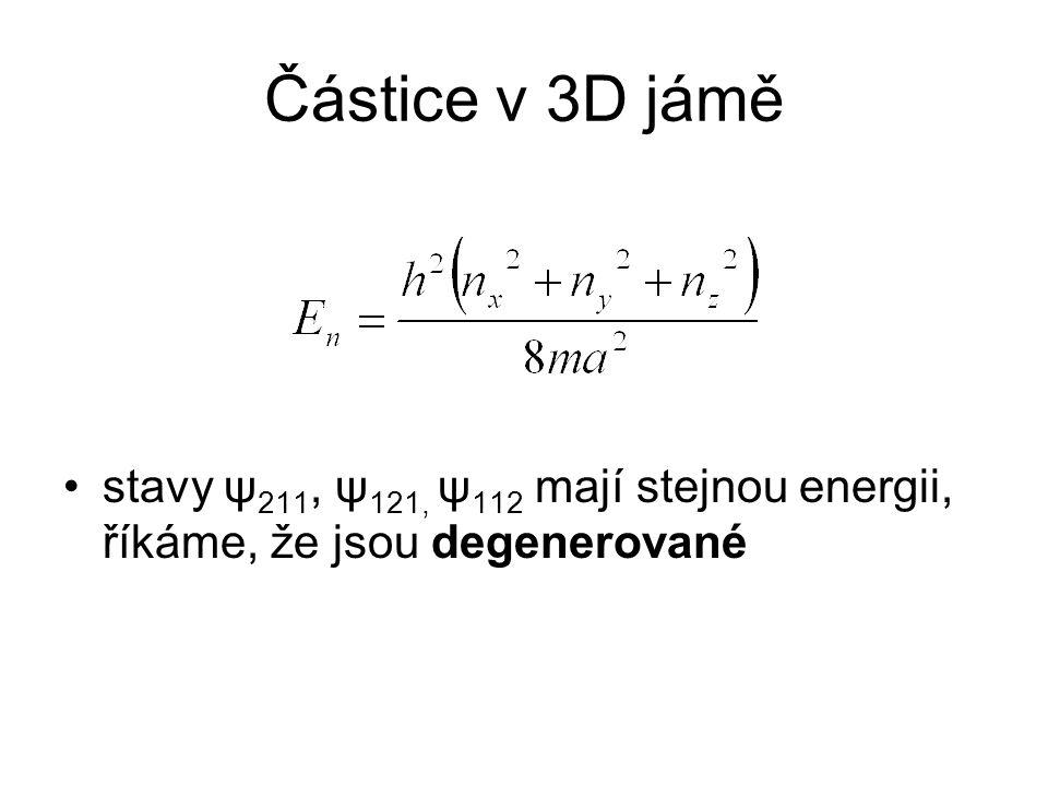 Částice v 3D jámě stavy ψ211, ψ121, ψ112 mají stejnou energii, říkáme, že jsou degenerované