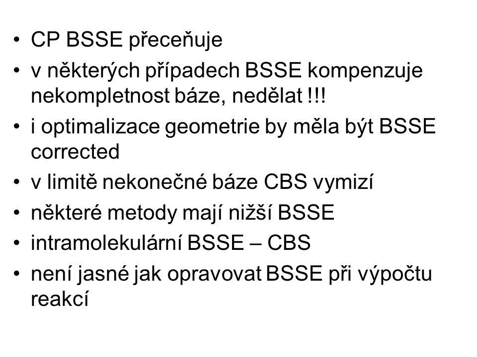 v některých případech BSSE kompenzuje nekompletnost báze, nedělat !!!