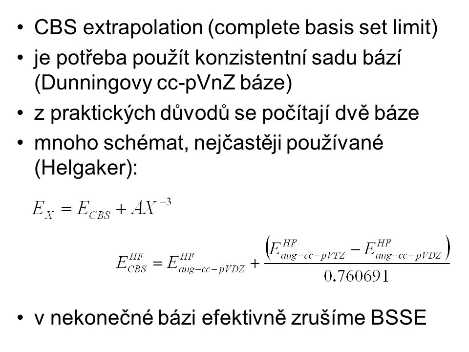 CBS extrapolation (complete basis set limit)