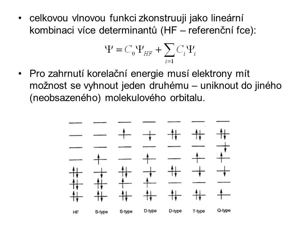 celkovou vlnovou funkci zkonstruuji jako lineární kombinaci více determinantů (HF – referenční fce):