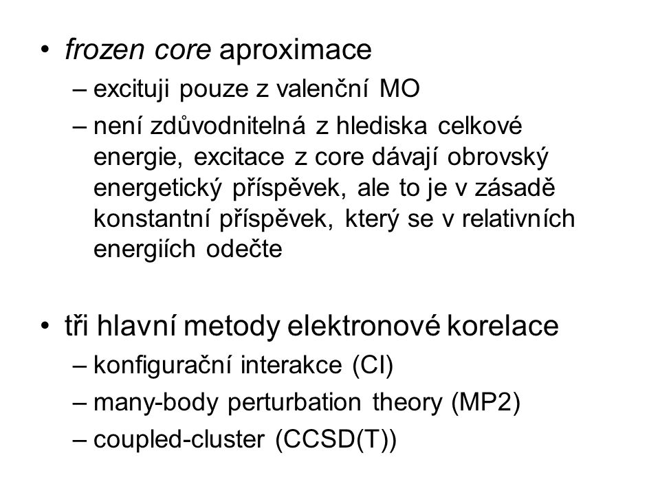 frozen core aproximace
