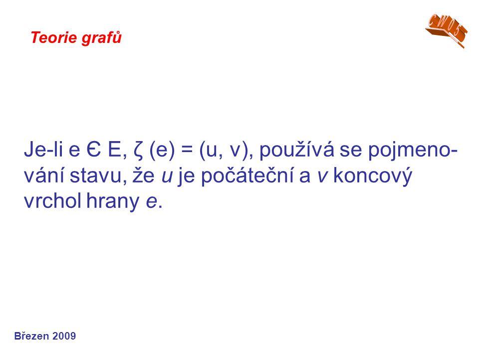 CW05 Teorie grafů. Je-li e Є E, ζ (e) = (u, v), používá se pojmeno-vání stavu, že u je počáteční a v koncový vrchol hrany e.