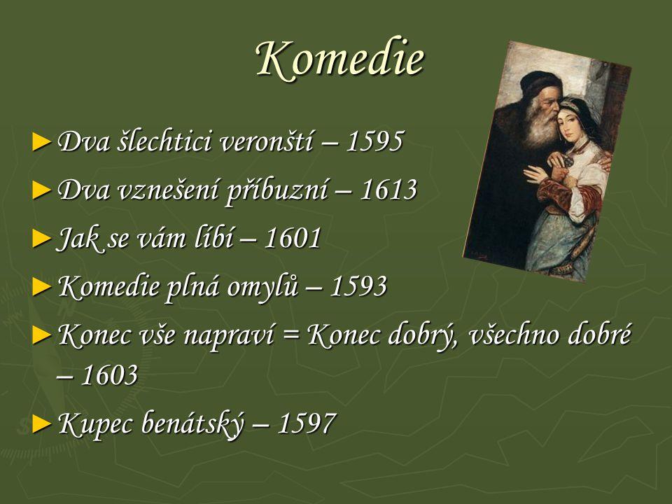 Komedie Dva šlechtici veronští – 1595 Dva vznešení příbuzní – 1613