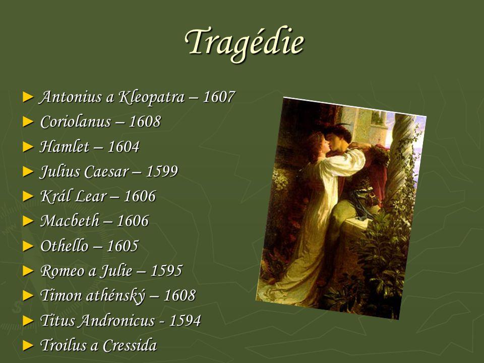 Tragédie Antonius a Kleopatra – 1607 Coriolanus – 1608 Hamlet – 1604