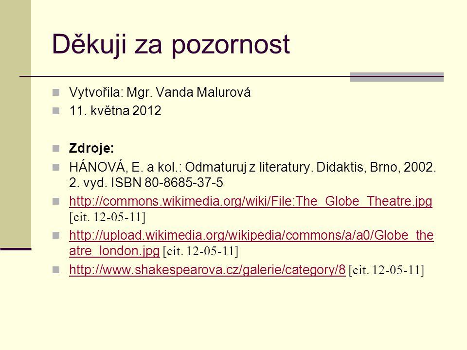 Děkuji za pozornost Vytvořila: Mgr. Vanda Malurová 11. května 2012