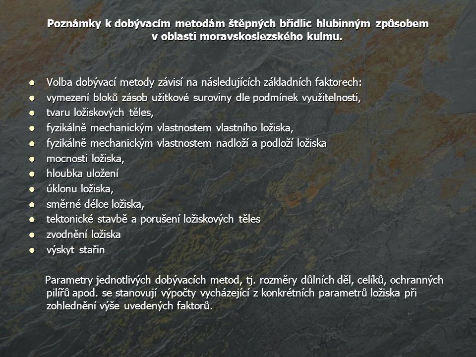 Poznámky k dobývacím metodám štěpných břidlic hlubinným způsobem v oblasti moravskoslezského kulmu.