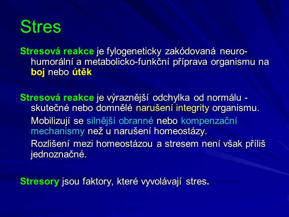 Stres Stresová reakce je fylogeneticky zakódovaná neuro-humorální a metabolicko-funkční příprava organismu na boj nebo útěk.