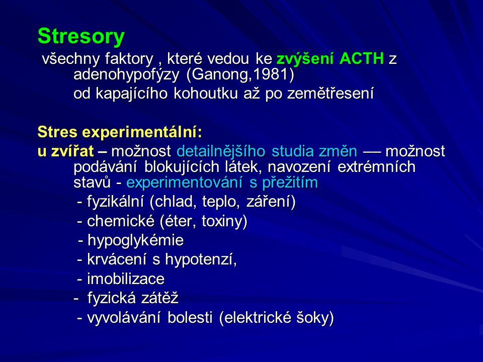 Stresory všechny faktory , které vedou ke zvýšení ACTH z adenohypofýzy (Ganong,1981) od kapajícího kohoutku až po zemětřesení.