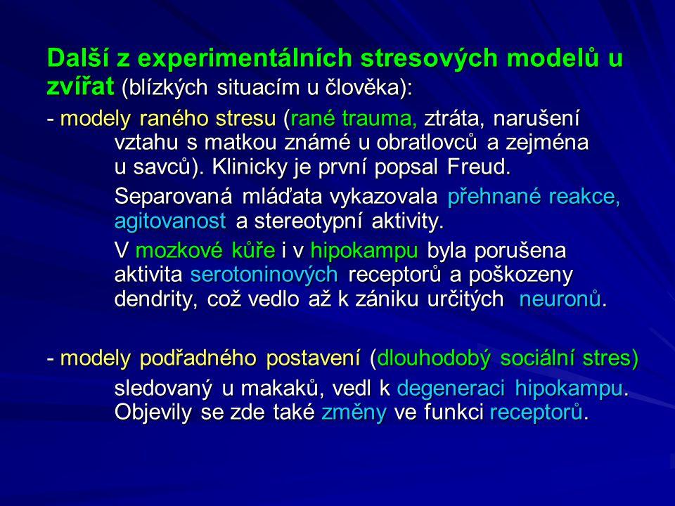 Další z experimentálních stresových modelů u zvířat (blízkých situacím u člověka):